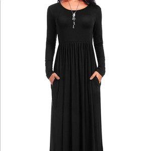 0221 Women's Long Sleeve Loose Plain Casual Long